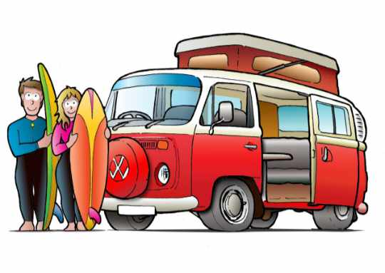 VW-Camper with surfers